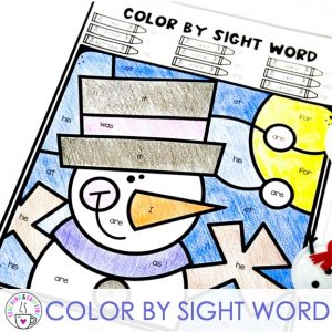 literacy favorites for january color by sight word