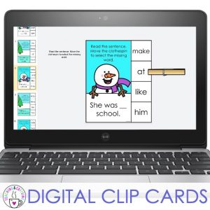 literacy favorites for january digital sight word clip cards
