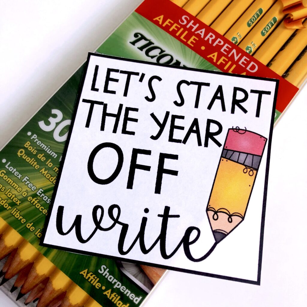 7 Easy and Inexpensive Back-to-School Gifts image of pencils with a tag that says let's start the year off write