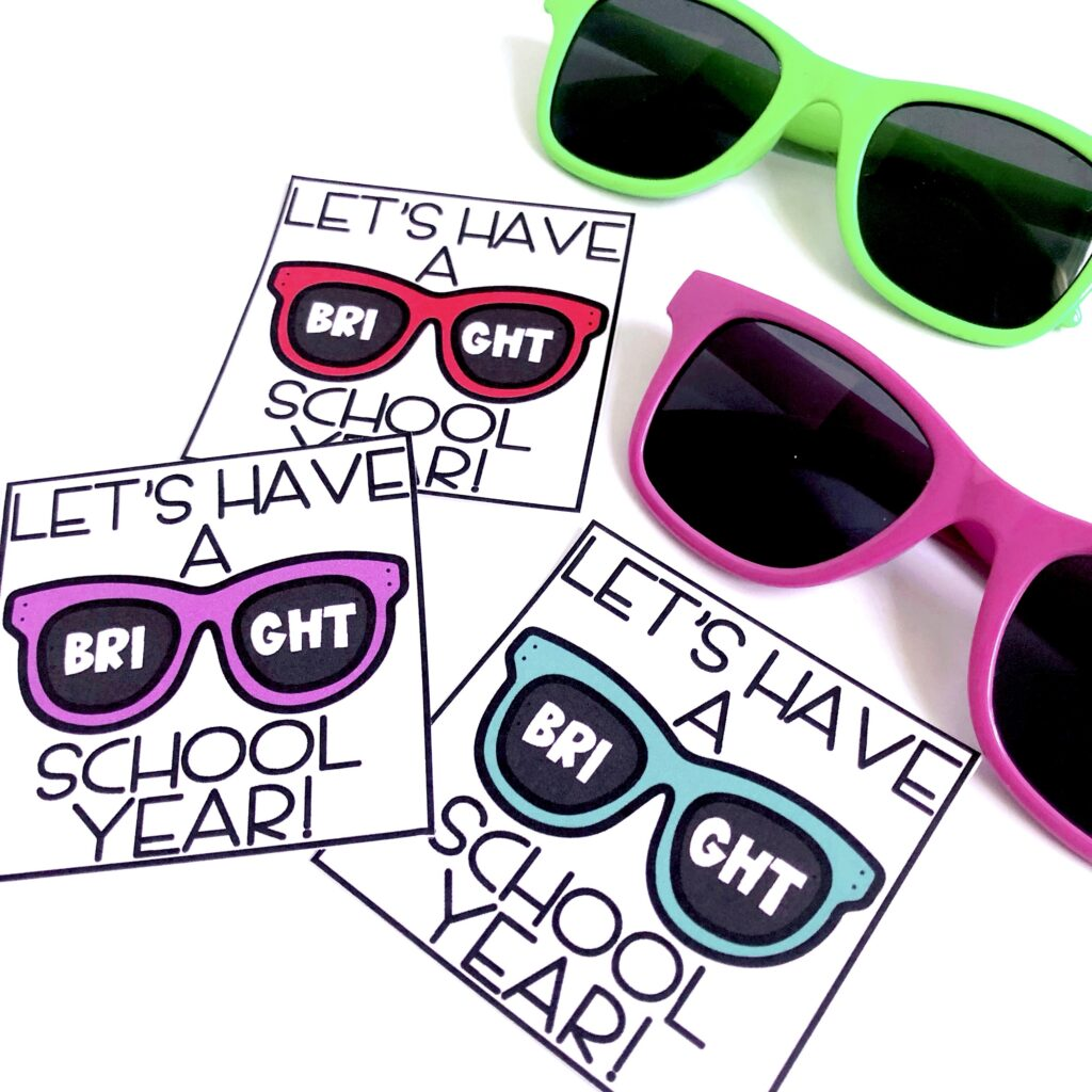 7 Easy and Inexpensive Back-to-School Gifts post image of sunglasses with a tag that says let's have a bright school year